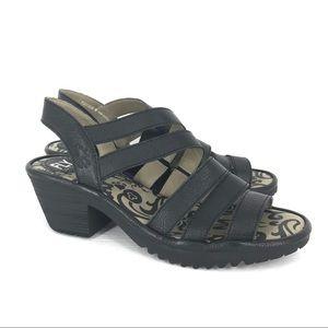 Fly London Size 40 Woze Black Luxor Leather Sandal
